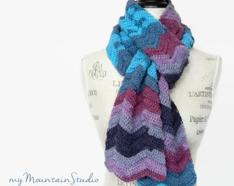 Hand Crocheted Ladies Scarf in Blue and Purple - Handmade in Montana - Ready to Ship