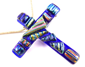 Dichroic Cross Pin & Pendant - Blue Sapphire with Rainbow Striped Patterned Orange Blue Pink Gold Recycled Dichro - 1.75 Inch