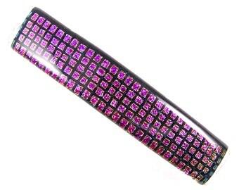 "Dichroic Barrette - Magenta Pink Fuchsia Rose Gold Black Square Polka Dots Patterned Dichro Fused Glass - 3.5""  9cm"