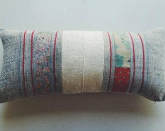 Hmong Batik Pillow Cover - Floral Bohemian Pillow - Decorative Boho Throw Pillows