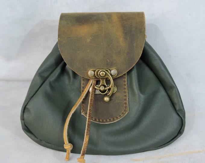 Featured listing image: Customizable Large Tier 2 Economy Sporran Design Leather Belt Bag / Pouch Medieval, Bushcraft, LARP, SCA, Costume, Ren Faire