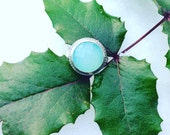 Aquamarine Chalcedony and Sterling Silver Ring, faceted gemstone and sterling  ring, statement ring, fine jewelry,