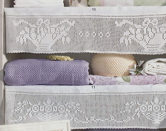 Pattern of Burda special E659_10 and 11 of girland shelf curtains filet crochet lace cotton white table cloth runner vintage retro