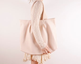 Nude Large Leather Tote Bag | Natural Beige Evening or Day Shoulder Bag | Unique Bag | Nude ... Ready to Ship