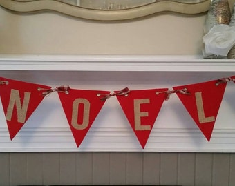 CHRISTMAS BANNER NOEL - Rustic, Country, Shabby Chic Farmhouse Burlap Red Plaid Flannel Accents