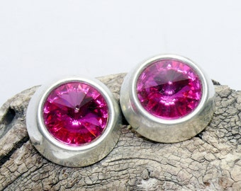 Vintage Button Earrings Design by SD made with Fushia Pink Swarovski Crystals Clip On
