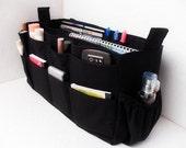 Large Bag organizer - Purse organizer insert in Black