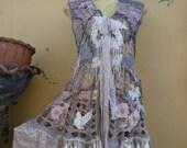 "20%OFF gothic bohemian boho lagenlook jacket gypsy crochet vest ....work of art!!smaller to 40"" bust...."