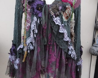 """20%OFF gothic bohemian boho lagenlook jacket gypsy fitted shirt/jacket ....work ofart!!smaller to 38"""" bust...."""