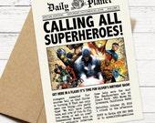 Daily Planet Superhero Newspaper Birthday Invitation - Captain America and Avengers