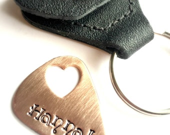 Hand Stamped Jewelry Guitar Pick and Leather Case Hand Stamped For Him Fathers Day