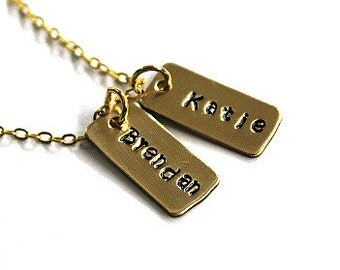 Hand Stamped Hand Stamped tiny tags gold brass necklace - Brass Hand Stamped necklace