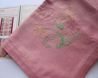 Sweet Vintage Supper Cloth. Deep Musk Pink Cotton. Simple Floral Embroidery to each corner. Unused.