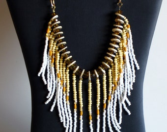 Native American necklace in amber, cream, white and coral