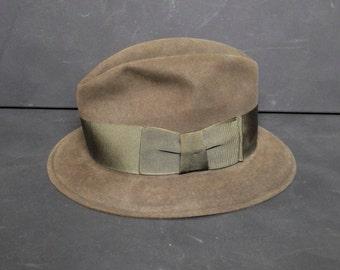 SALE Vintage Green Brown Khaki Fedora Hat Trilby Wool Felt Westworld Baltman New York 1950s Mid Century
