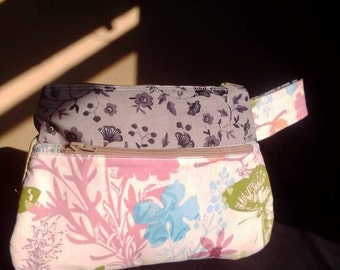 Butterfly's and flowers Double zipper make up bag with handle