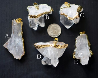 Natural Raw Rock Crystal Point Bead Pendant Dipped in Gold