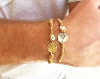 Men bohemian jewelry bracelet. Men bracelet set. Gift for men. Bracelet for him. Disc bracelet. Anniversary gift for him jewelry.