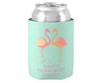 Personalized Can Coolers - Front & Back - Perfect Bridesmaid/ Bridal Party Gifts - Preppy Flamingo Coolies