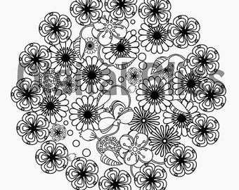 INSTANT DOWNLOAD Adult Coloring Page, Floral Breeze Coloring Page, Flowers to Color, Line Drawing, Scrapbooking