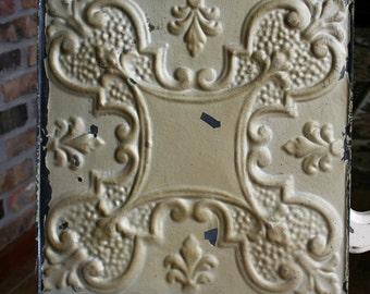 "12"" Antique Tin Ceiling Tile -- Chippy Metallic Gold Paint - Ornate Design"