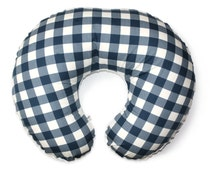 Plaid Crib bedding- Blue Gingham Boppy cover - boppy slipcover -  baby boy bedding-  nursing pillow cover -boy boppy cover