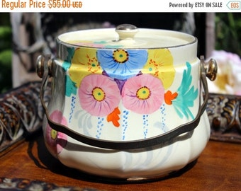 Sadler Biscuit or Cookie Jar or Barrel - Hand Painted Canister 10366