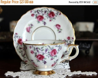 Enesco Footed Teacup and Saucer, Pink Roses on Bone China, Vintage Tea Cups, Made in Japan 13658