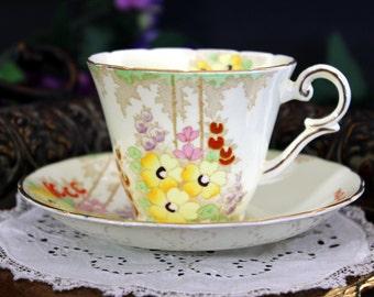 Hand Painted Teacup, Wellington Teacup, Dainty Tea Cup and Saucer, English Bone China 13310
