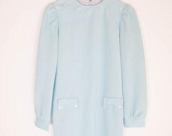 vintage 60s sky blue mod mini dress