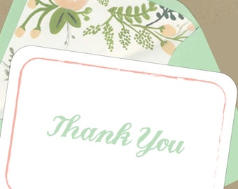 BOX OF 12 Floral 3 Thank You Notes