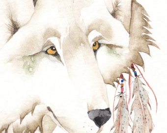 WOLF spirit watercolor ACEO - 'Thunder Moon' - giclee PRINT - Free Shipping