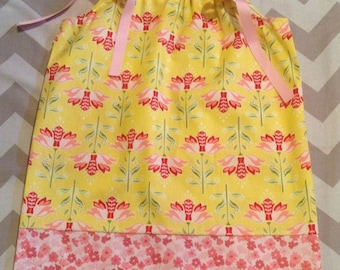 Ready to ship - Pillowcase Dress - January blossom - Yellow pink and red - Sizes 18M 2 3 4 toddler 5 6 7 8 Years
