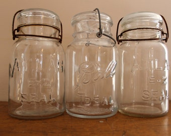 Atlas and Ball Mason Jars - Mix Matched Set of 3