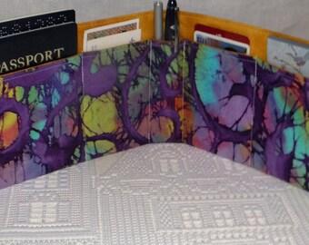 Purse Insert, Bag Organizer Insert, 5 Pockets, Purple Batik Print, Handbag, Tote, Backpack, Travel Bag, Diaper Bag,  Ready to Ship
