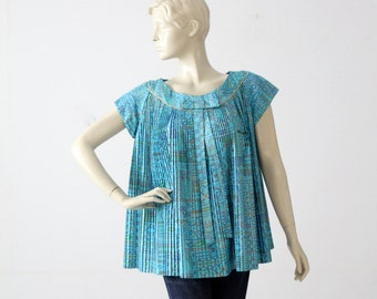 1960s mod trapeze blouse,  vintage accordion pleat tent top