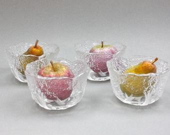 Mikasa Wedding Bowls / SET of 4 / Vintage Art Glass / True Love Pattern / Wedding Gift Idea