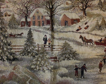Robert Allen Winterland Fabric Samples Tapestry Skating New England Discontinued