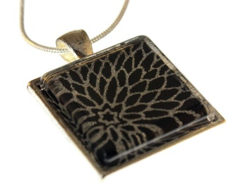 Silver Mums on Black Chiyogami. Glass Tile Necklace