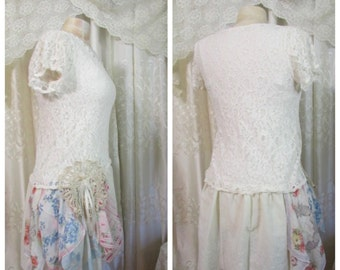 Shabby Lace Top, soft feminine cream top, stretchy lace fabric, shabby n chic romantic , upcycled clothing,altered Clothing, SMALL