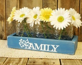 FAMILY Planter box, jar box, table centerpiece, family sign, country home decor, farmhouse table, Spring Centerpiece, Summer decor, daisies