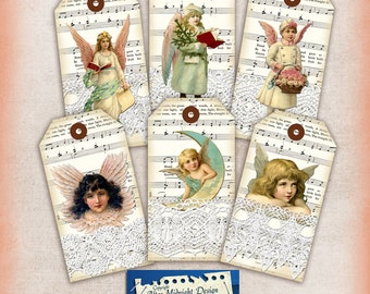 TAGS 98 Christmas tags Vintage Angels tags Instand download Digital collage sheet Printable hang tags