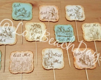 Alice in Wonderland Cupcake Toppers: 12 Cupcake Toppers, Food Decorations, Gender reveal