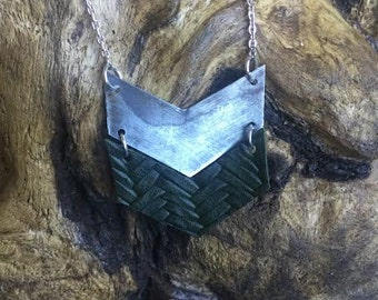 Industrial Recycled Metal / Deep Green Leather Chevron Necklace