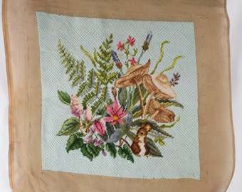 Vintage Handmade Needlepoint Florals Bunny and Toadstools Chair Cover Pillow 16 x 16