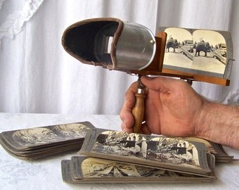 Antique Stereoscope Card Viewer Includes 25 View Cards 3D Stereoviewer Stereograph View Cards ca 1902