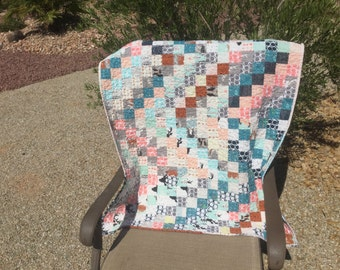 """MODERN PATCHWORK QUILT, Minky Back, Baby Quilt, Lap Quilt, Bedding, Ready To Ship,Gender Neutral, """"Hello Bear"""" Fabric By Bonnie Christine"""