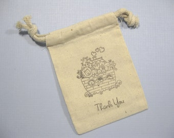 Set of 10 baby shower muslin favor bags 3.5 inch by 5 inch - Noah's Ark theme favor bags -  Thank You gift bags