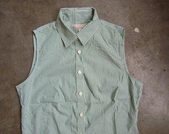 Vtg Green White Striped Cotton Sleeveless Button Down Blouse Banana Republic M
