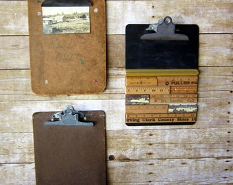 Three Vintage  Clipboards Industrial Office Supplies Wall Decor
